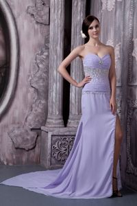 Lilac Beaded Military Ball Gown with a side Slit and a Court Train