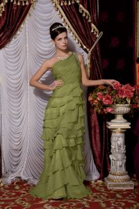 Chiffon One Shoulder Olive Green Military Ball Dress with Ruffled Layers