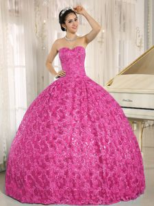 Unique Sweetheart Hot Pink Military Ball Dress in Special Floral Fabric