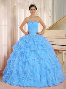 Aqua Blue Sweetheart Gown For Military Ball with Ruffles and Beading
