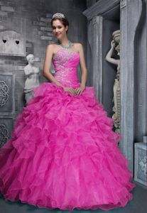 Lovely Beaded Pink Sweetheart Military Ball Attire with Appliques