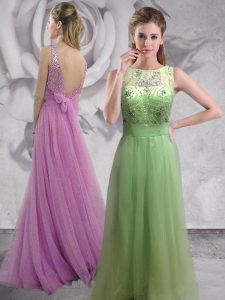 Backless Bateau Sleeveless Military Ball Dresses For Women With Brush Train Beading Lilac Tulle