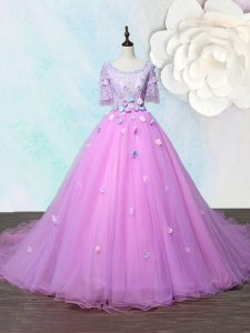 Scoop Lilac A-line Beading and Appliques Military Ball Dresses For Women Lace Up Organza Half Sleeves With Train