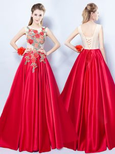 Perfect Scoop Red Sleeveless Floor Length Appliques Lace Up Military Ball Dresses For Women