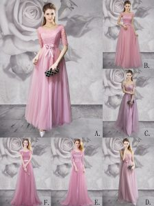 Sweet Empire Military Ball Dresses Lilac Scoop Tulle Half Sleeves Floor Length Lace Up