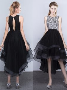 Dynamic Scoop Backless High Low Black Military Ball Gown Tulle Sleeveless Beading
