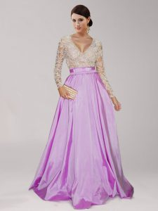 Super Lilac Empire Beading and Belt Military Ball Gowns Zipper Taffeta Long Sleeves Floor Length