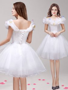 Spectacular Off the Shoulder White A-line Appliques and Ruffles Ball Gown Prom Dress Lace Up Tulle Sleeveless Knee Length